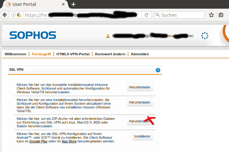 Ubuntu Linux - OpenVPN - Sophos - Systemhaus Brandenburg GmbH 2019
